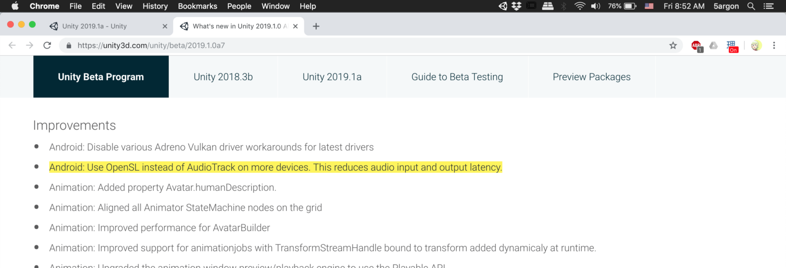 Unity's Android audio latency improvement in 2019 1 0